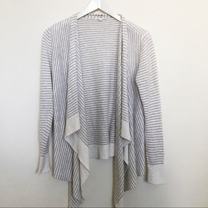 Eileen fisher beige grey stripe cardigan